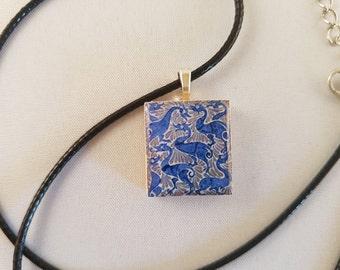 Vintage Blue Portuguese Ducks scrabble tile resin pendant