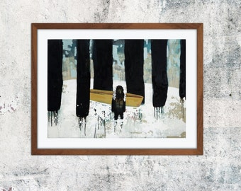 A4 print of original painting forest Tracker boat