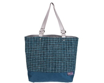 PURSE turquoise woman with gray leather handles