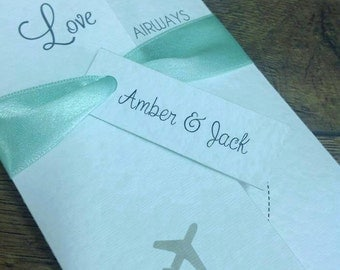Love airways invitations travel themed wedding stationery