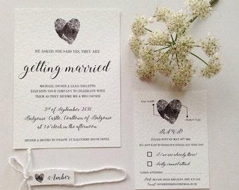 Fingerprint themed wedding invitations wedding stationery
