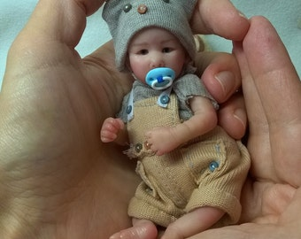 OOAK Polymer Baby boy 4.7 in by the artist Victoria Vihareva-Pechenkina