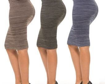 Coco Limon Women's Fleece-Lined Pencil Skirts (3-Pack) (S-101)