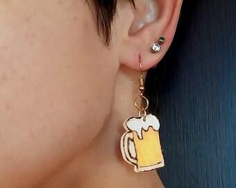 Wooden earrings, for beer lovers