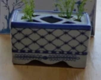 Flower Brick / Vintage Chinese Flower Brick / Blue & White