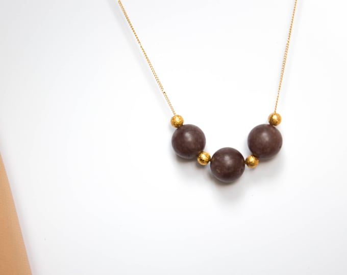 Brown Moonstone and Gold Bead Necklace