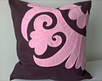 Cotton Candy embroidered pillow cover Accent pillow Decorative pillow case Pink embroidery Purple pillow Central Asian Tajik
