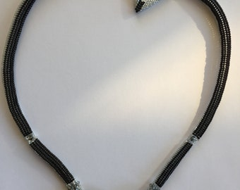 Reversible Black & Silver Triangle Statement necklace