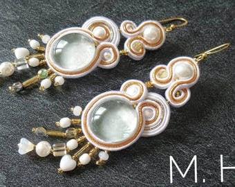 """Soutache Earrings, Handmade Earrings, curls of Soutache earrings, Soutache Jewelry, Hand Embroidered, """"Fantasia"""" pattern, ethnic jewelry"""