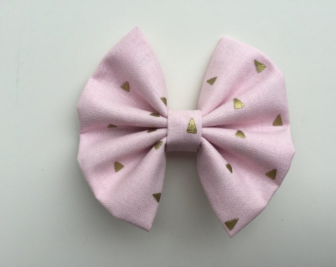 Soft pink triangles fabric hair bow or bow tie