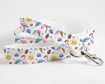 Flamingo Summer Patterned Dog/Cat Leash-Textile Leash