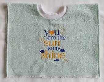 Baby bib handmade, Embroidered baby bib, Saying baby bib