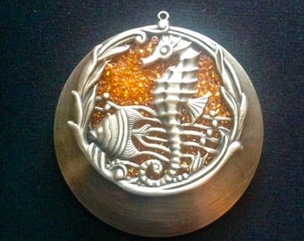 Orange and silver seahorse magnet