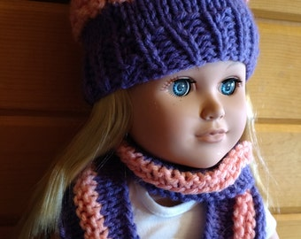Hat and scarf for 18 inch doll