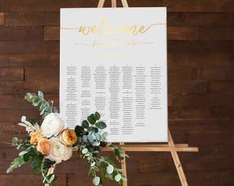 Personalized Printable Wedding Reception Seating Chart, Wedding Seating Chart Poster, Printable, Customized For You, Faux Gold Foil Texture