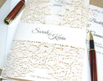 Ivory wedding invitation, laser cut wedding invitation,lace wedding invitation with envelope , romantic wedding invitation, Laser cut invite