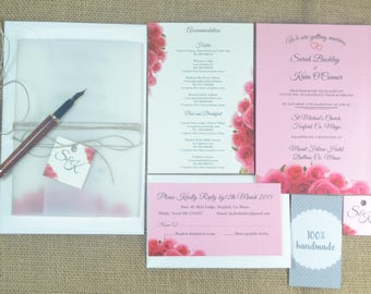 Wedding invitation set with rsvp card and reception card , Handmade wedding invitation set with envelope