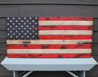 Rustic United States Flag with Painted Stars