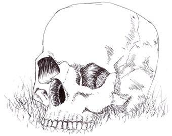 Skull in The Grass PRINT