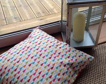Teardrop design print cushion cover, 100% cotton, envelope back.