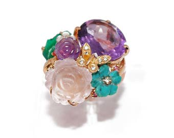 Flower ring rose gold and gemstones