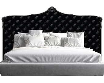 tufted upholstered headboard with brass nailheads queen size. Black Bedroom Furniture Sets. Home Design Ideas