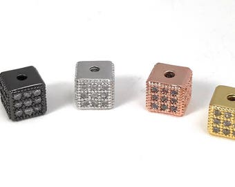 CZ Cube Beads, Micro Pave Cube Beads, Square Cube Beads, Pave Beads, Spacer Beads, Cube Beads, Jewelry Findings, 6x6x6mm, CZ Beads, 1  Pc