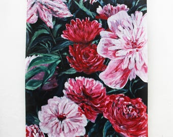"""80's Flora// Original Acrylic Painting// 24""""by19""""// MDF Board"""