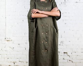 Linen tunic dress, plus size linen dress, one size linen tunic, linen overalls, overalls, long linen dress, button down dress/LD0024