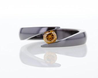 Treated cognac diamond ring