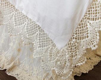 Crochet Cotton Lace Luxury Shabby Chic Duvet Cover Set