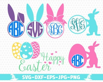 Easter Bunny Svg Happy Easter SVG Easter Bunny Monogram Svg Circle Monogram Frames Svg Cricut Cut Files Studio Cut Files Easter Egg svg