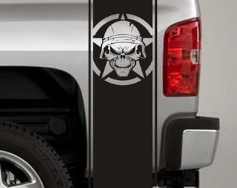 Truck Bed Stripe Decals - Army Star Soldier Skull Stickers - Universal Fit (Pair x2)