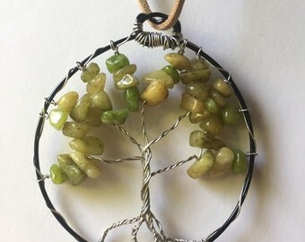 Tree of life necklace pendant silver and green SALE