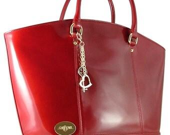 Stylish Carbotti  red leather handbag