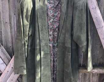 Vintage Green/ Olive / Deer skind Trading post/Suede Swing Coat/ Jacket size M to L