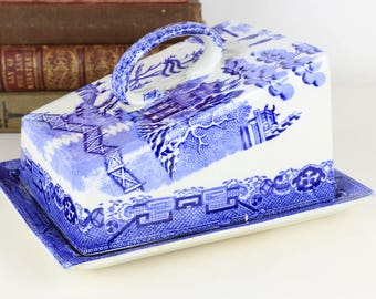 Antique LARGE cheese dish English with Chinese style print