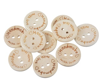"""50 Pcs """"Handmade with Love"""" Wooden Buttons"""