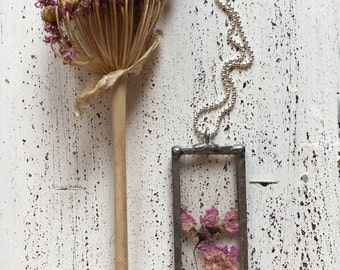 Romantic Flower necklace with glass pendant, real dried.