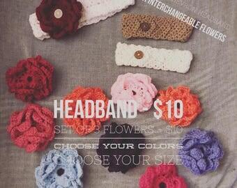 Crochet Chevron Headband with Interchangeable Flowers