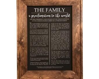 The Family Proclamation Black Chalkboard Print