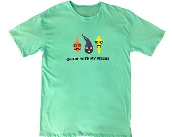 """Organic T shirt - """"Chillin' with my Veggies"""""""