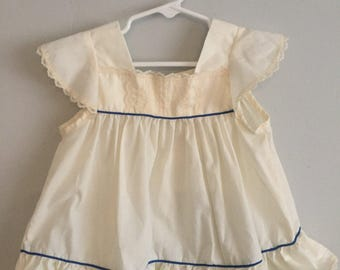 SALE Vintage Cream Dress with Blue Piping and lace details 6 Months