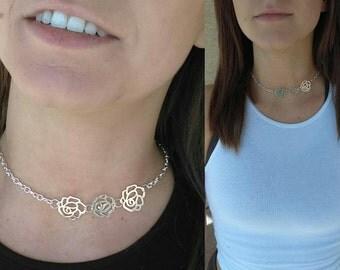 Silver flower dainty choker necklace,  dainty chain choker, choker with flower, silver flower jewelry, Minimalist Jewelry, Everyday Jewelry