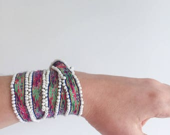 Pink,blue, bracelet,wrap, ankle, headband, anklet, hippie, tie on, bead, color, Peru, stack, beaded band, handmade and arm wrap!