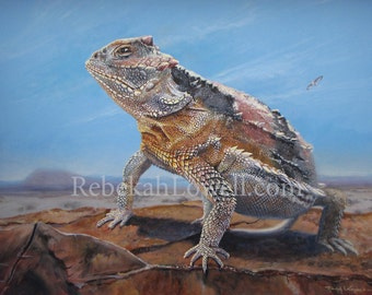 On Alert: Greater Short Horned Lizard Painting (Wyoming Conservation Stamp entry)