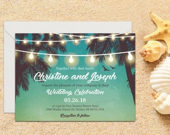 Beach Wedding Invitation with Setup, Destination Wedding, Beach Wedding, Tropical Wedding, Printable, Template, Wedding invitation