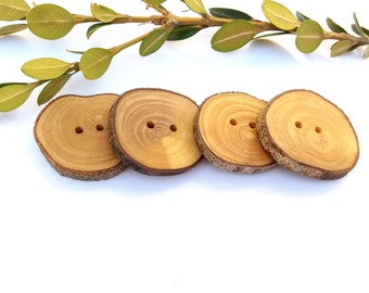 1 1/4'' Branch Buttons, Set of 4, Olive tree buttons, Handmade Wood buttons, Eco/ Natural buttons, Knitting Sewing supplies, 3,5 cm