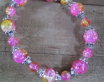 Pink and Orange Beaded Bracelet