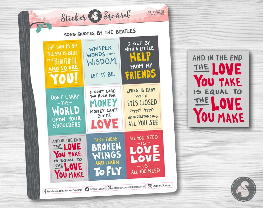 Beatles Quotes Love Beatles Song Quotes Planner Stickers Best Lyrics Quotes Top